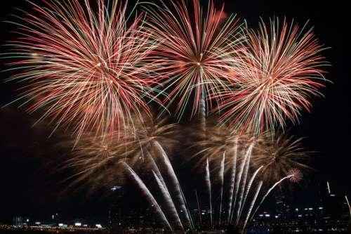 Fireworks at night over Seoul, South Korea free photo