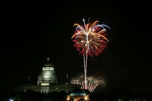Fireworks shooting into the air in Providence, Rhode Island free photo