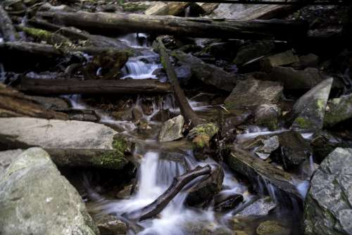 Flowing Water with mini-falls at Mingus Falls, North Carolina free photo