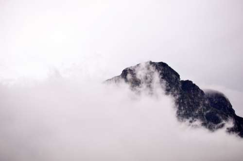 Fog and Mist over the Mountain Peak in Cape Town, South Africa free photo