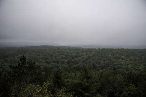 Foggy Sky over the Hills and Forest in Algonquin Provincial Park, Ontario free photo