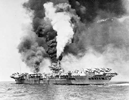 Formidable on fire after a kamikaze attack in Okinawa, World War II free photo