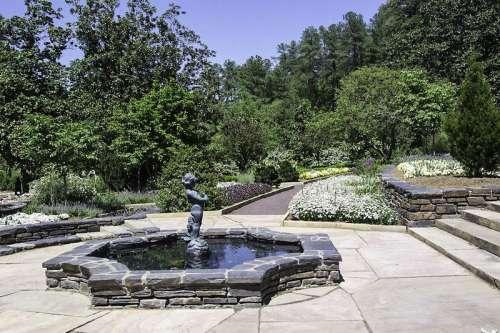 Fountains in the Duke Garden at Duke University, North Carolina free photo
