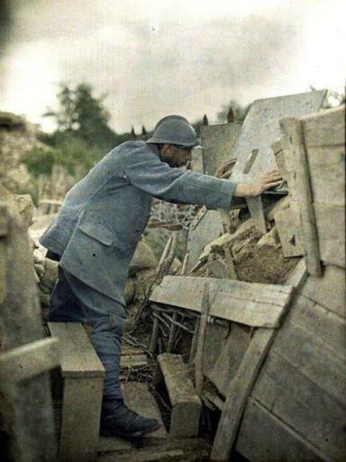 French Army Lookout Post in the Haut-Rhin during World War I free photo