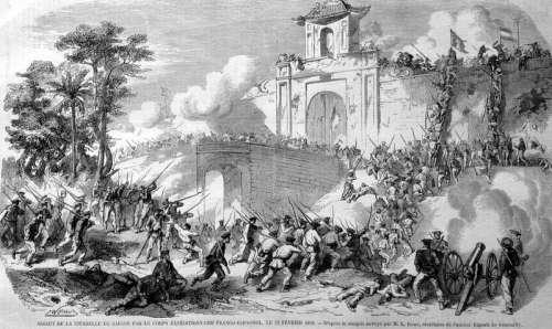 French Siege of Saigon, Vietnam in 1859 free photo