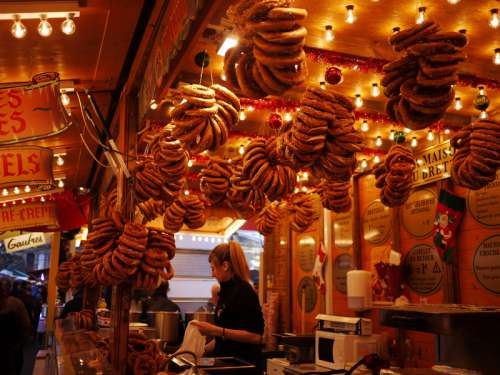 Fresh Pretzels Hung in Bakery free photo