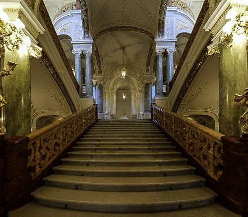 Front Stairs of the Odessa Opera Theatre in Ukraine free photo