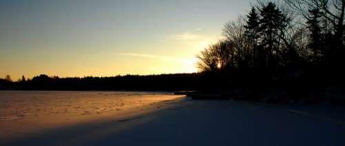 Frozen lake Echo at Sunset in Halifax, Nova Scotia free photo