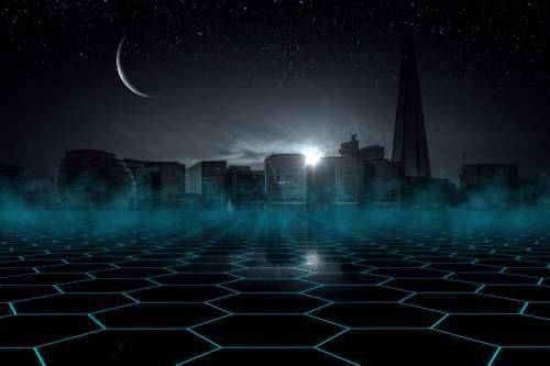 Futuristic Cityscape at night free photo