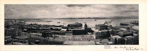 General view of harbor at San Juan, Puerto Rico looking South to San Juan Bay, 1927 free photo