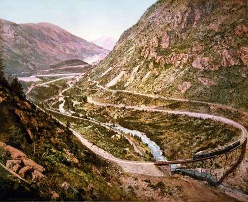 Georgetown Loop of the Colorado Central Railroad in Colorado 1899 free photo