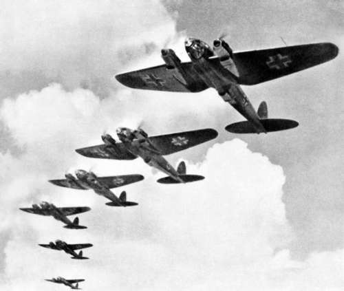 German Luftwaffe, Heinkel He 111 bombers during the Battle of Britain in World War II free photo