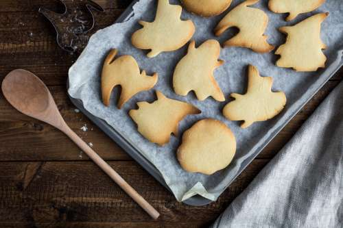Ghost Shaped Cookies in a Pan free photo