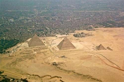 Giza Pyramids and Cityscape in Egypt free photo