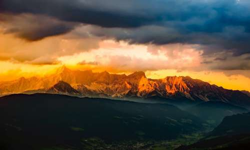 Golden Mountain Tops over the Alps in Austria free photo