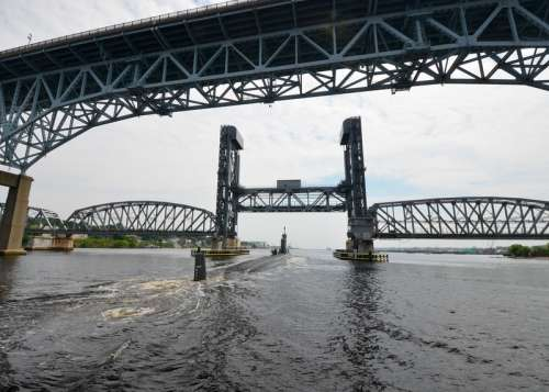 Goldstar Bridge and Amtrak Thames River Bridge in Connecticut free photo