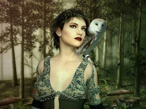 Gothic Female Model with owl on shoulder free photo