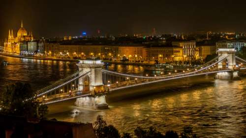 Grand view of Széchenyi Chain Bridge in Budapest, Hungary free photo