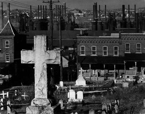 Graveyard with Bethlehem Steel in background, 1935 in Pennsylvania free photo