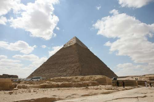 Great Pyramid in the landscape in Giza, Egypt free photo