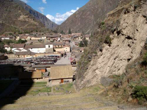 Great Scene in the Ollantaytambo valley in Peru free photo