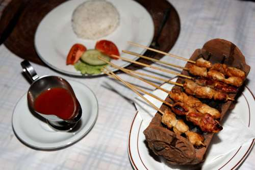 Grilled Chicken on a stick free photo