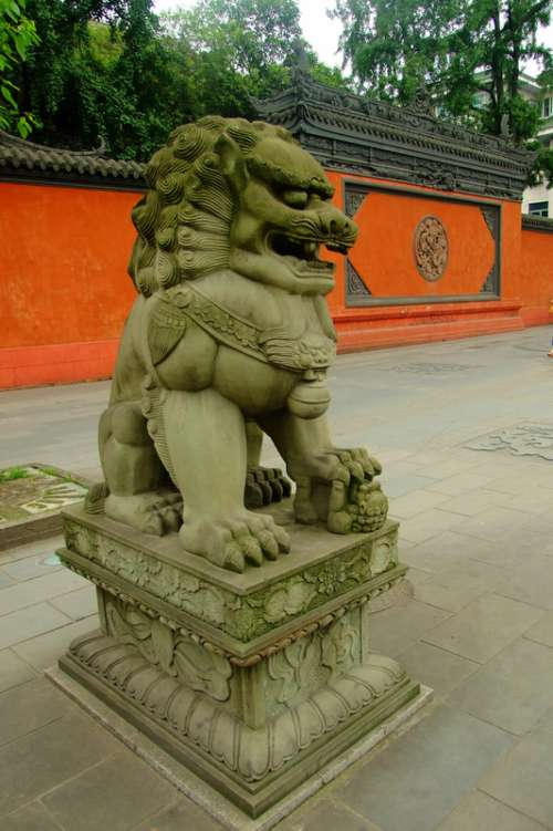 Guardian Lions outside Daci Temple in Chengdu, Sichuan, China free photo
