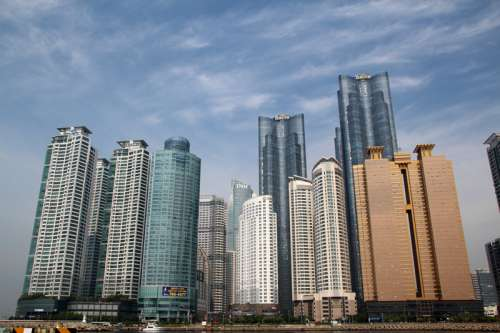 Haeundae Beach skyscrapers in Busan, South Korea free photo