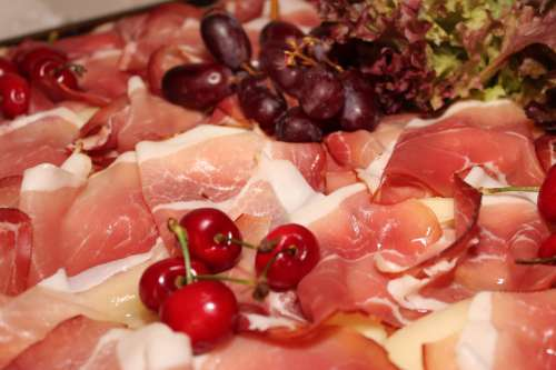 Ham, Cherries, and Grapes free photo