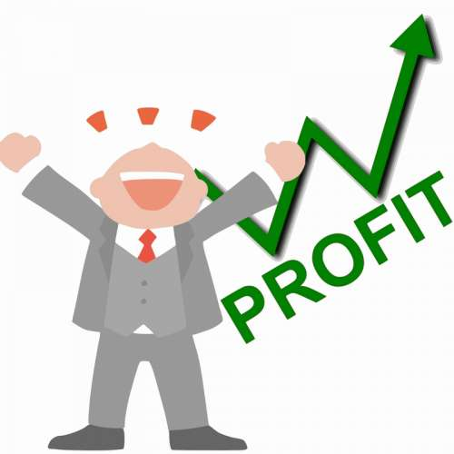 Happy Business Man Profit Vector Clipart free photo