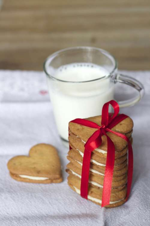 Heart Shaped cookies and milk free photo