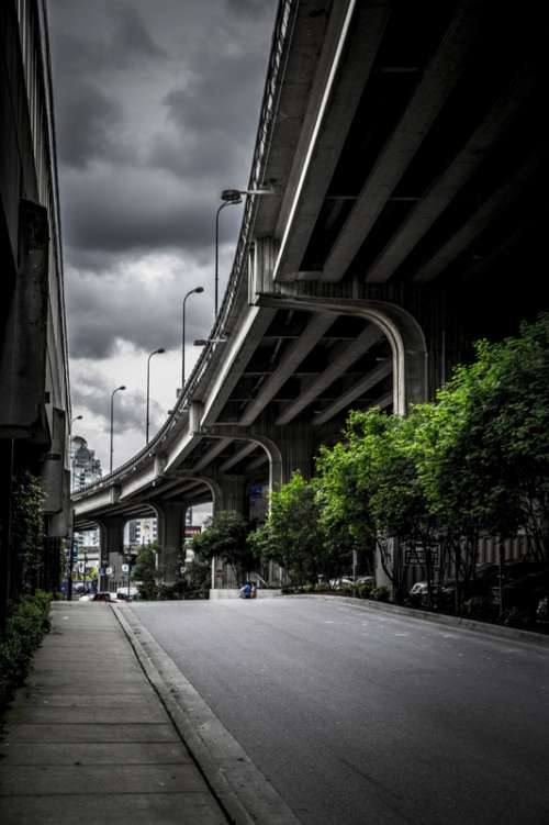 Highway under storm clouds in Vancouver, British Columbia, Canada free photo