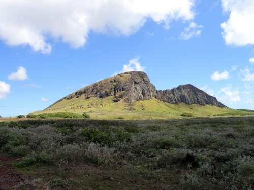 Hills in the landscape on Easter Island, Chile free photo
