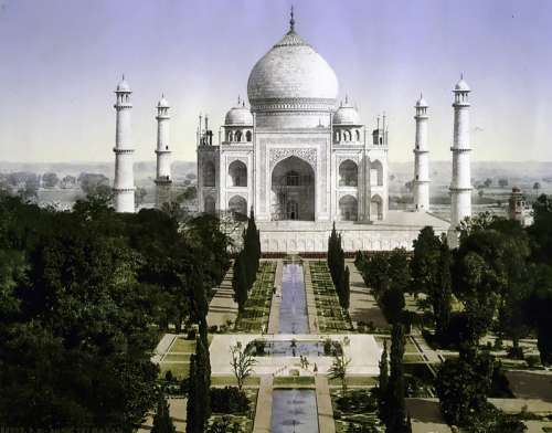 Historical 1890 View of the Taj Mahal in India free photo