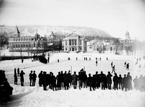 Hockey game on campus in 1884 at McGill university in Montreal, Quebec free photo