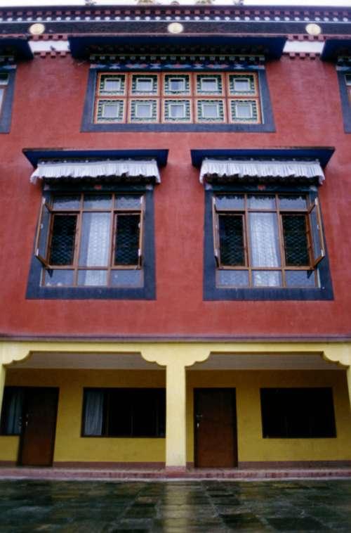 House windows in Kathmandu, Nepal free photo
