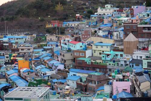 Houses and a village in Busan, South Korea free photo