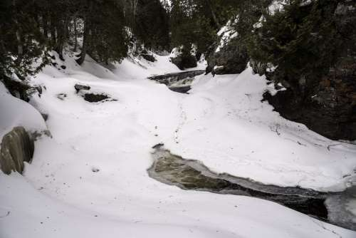 Icy and snowy river landscape at Cascade River State Park, Minnesota free photo