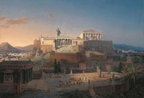 Idealized Reconstruction of the Acropolis of Athens free photo
