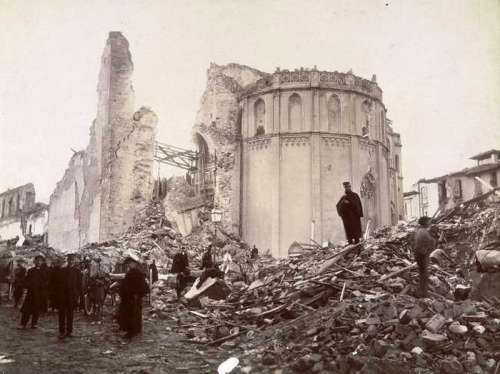 Image of the 1908 Messina earthquake aftermath in Italy free photo