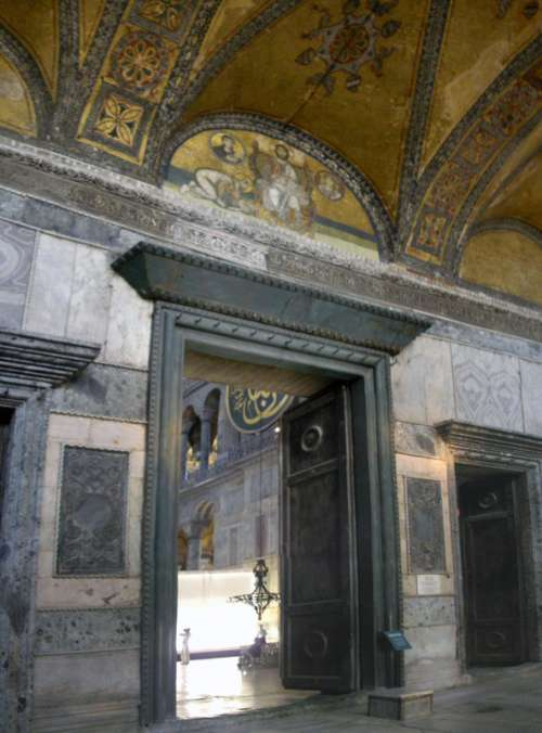 Imperial Gate inside the Hagia Sophia in Istanbul, Turkey free photo