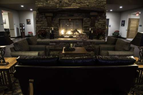 Indoors Fireplace at the Betty Lea Lodge at Echo Bluff State Park, Missouri free photo