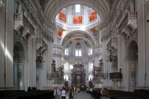 Inside the Cathedral in Salzburg, Austria free photo