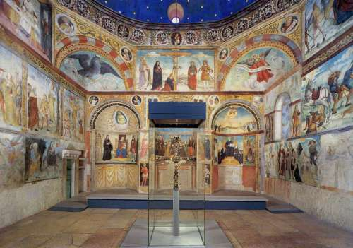 Interior of the church of Santa Maria in Solario with the Cross of Desiderius in Brescia, Italy free photo