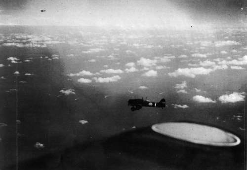 Japanese carrier dive bombers during the Battle of Coral Sea, World War II free photo