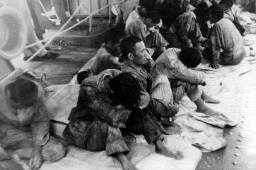 Japanese survivors of the Hiryu picked up by USS Ballard, Battle of Midway, World War II free photo