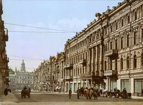 Kiev in the late 19th century streetview in Ukraine free photo