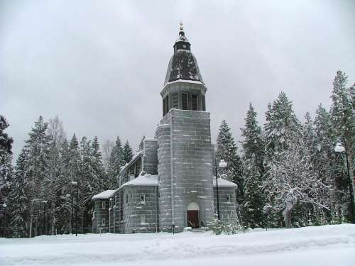 Konnevesi Church building in the snow in Finland free photo