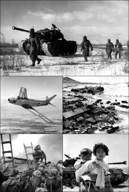 Korean War Collage Black and White free photo
