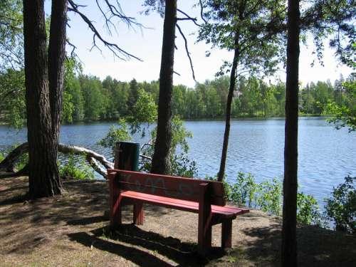 Lake Gallträsk landscape near Kauniainen, Finland  free photo